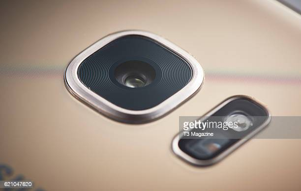 Detail of the 12 megapixel camera on a Samsung Galaxy S7 smartphone taken on March 15 2016