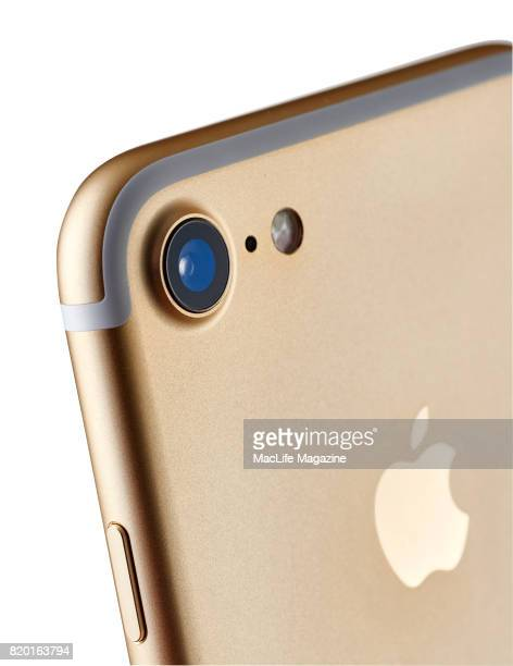 Detail of the 12megapixel camera on a 2016 Apple iPhone 7 with a Gold finish taken on September 19 2016