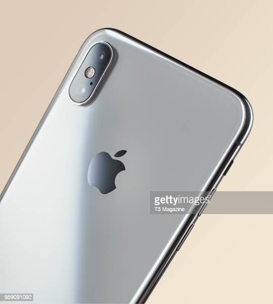 Detail of the 12megapixel camera on an Apple iPhone X smartphone with a Silver finish taken on October 27 2017