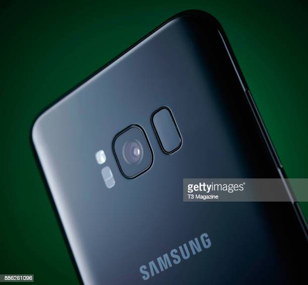 Detail of the 12megapixel rear camera on a Samsung Galaxy S8 smartphone taken on April 20 2017