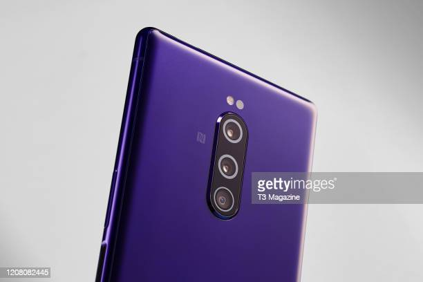 Detail of the 12-megapixel triple lens camera system on a Sony Xperia 1 smartphone, taken on August 23, 2019.