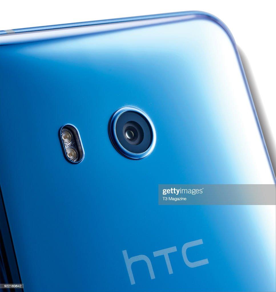 Detail of the 16-megapixel front camera on a HTC U11 smartphone, taken on June 7, 2017.
