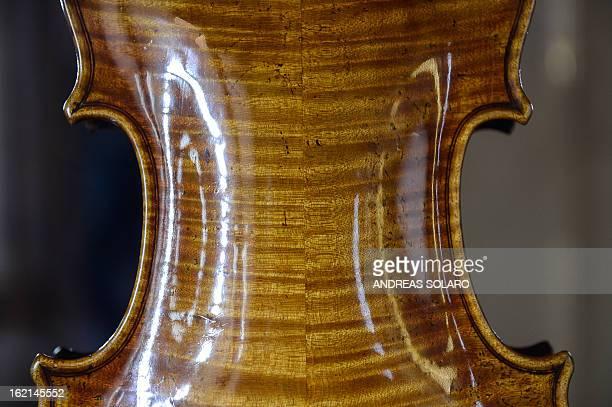 A detail of the 1727 violin made by Italian Antonio Stradivari known as the 'Vesuvius' taken at the museum of the 'Magnifica Comunità di Fiemme'...