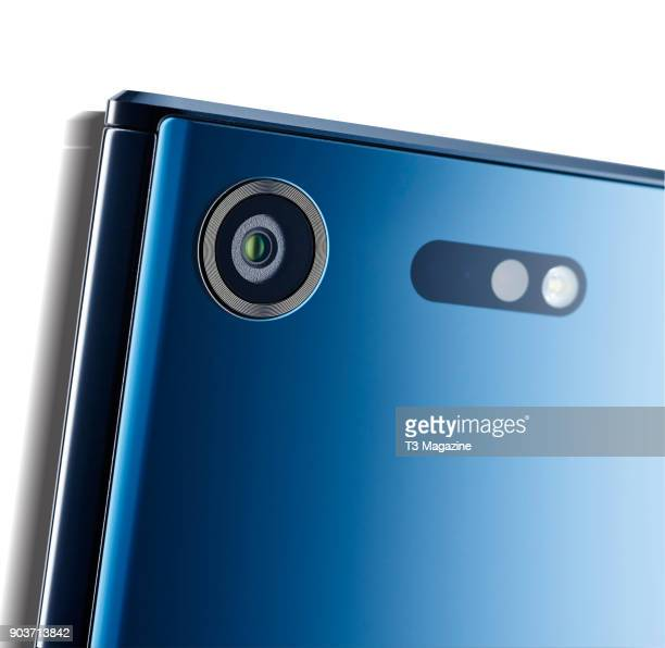Detail of the 19megapixel rear camera on a 2017 Sony Xperia XZ Premium smartphone taken on June 7 2017