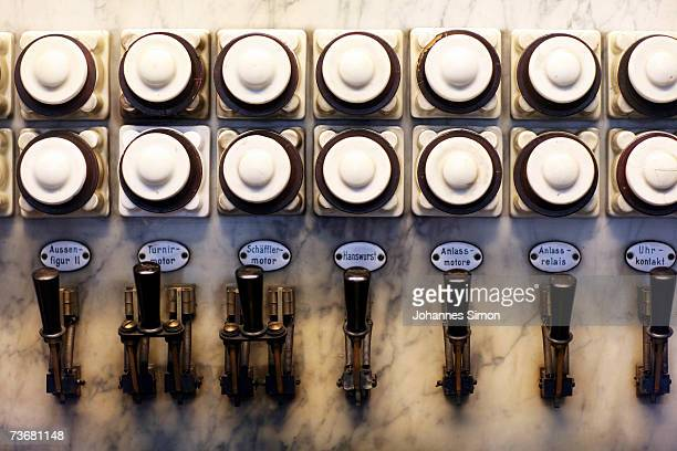 A detail of the 19th century's main switch table of the carillon of the new townhall at the Marienplatz seen on March 23 2007 in Munich Germany The...