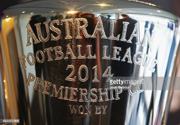 A detail of the 2014 AFL Premiership Cup on display during the AFL Premiership Cup handover on September 1 2014 in Melbourne Australia