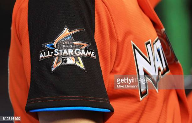 A detail of the 2017 MLB AllStar Game logo on a jersey during batting practice for the 88th MLB AllStar Game at Marlins Park on July 11 2017 in Miami...