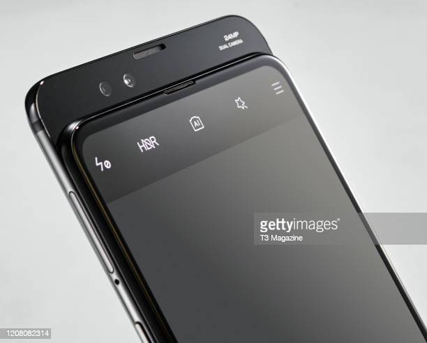 Detail of the 24-megapixel sliding front camera on a Xiaomi Mi Mix 3 5G smartphone, taken on July 22, 2019.