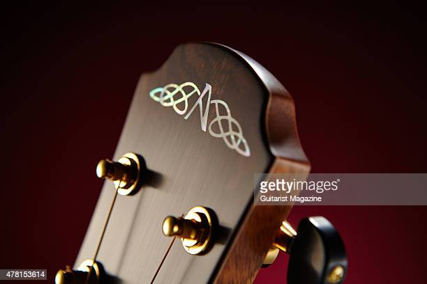 Detail of the abalone headstock inlay on an Avalon Ard Ri A3335FC acoustic guitar taken on November 11 2014