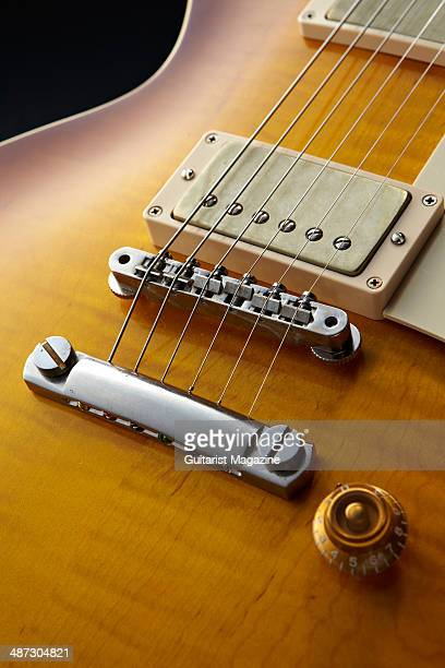 Detail of the ABR1 tuneomatic bridge and aluminium tailpiece on a 2013 Gibson Custom 1959 Les Paul Standard Reissue electric guitar taken on August 5...