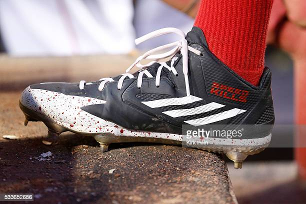 A detail of the Adidas baseball cleat worn by Billy Hamilton of the Cincinnati Reds during the game against the Cleveland Indians at Great American...