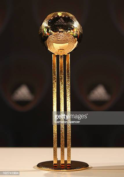 Detail of the 'adidas Golden Ball Award Trophy' following an official announcement of the 10 nominees for the 2010 FIFA World Cup 'adidas Golden Ball...