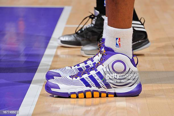 A detail of the Adidas sneakers worn by Dwight Howard of the Los Angeles Lakers as he plays against the San Antonio Spurs in Game Four of the Western...