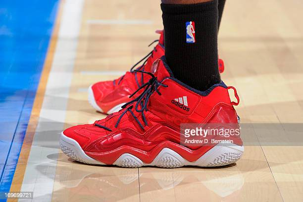 A detail of the Adidas sneakers worn by John Wall of the Washington Wizards while playing the Los Angeles Clippers at Staples Center on January 19...
