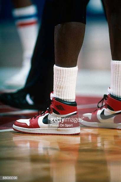 Detail of the 'Air Jordan' Nike shoes worn by Chicago Bulls' center Michael Jordan during a game against the Washington Bullets at Capital Centre...