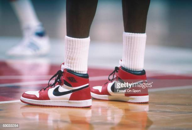 "Detail of the ""Air Jordan"" Nike shoes worn by Chicago Bulls' center Michael Jordan during a game against the Washington Bullets at Capital Centre..."