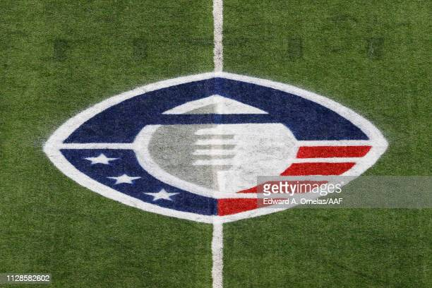 A detail of the Alliance of American Football logo on the field during a game between the San Diego Fleet and the San Antonio Commanders at the...