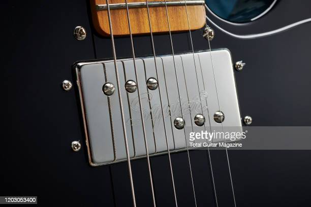 Detail of the Alnico single coil pickup on a Squier Classic Vibe 70s Telecaster Custom electric guitar with a 3-Colour Sunburst finish, taken on July...