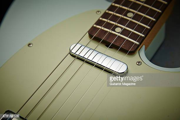 Detail of the American Vintage 52 Tele single coil pickup on a Fender Classic Player Baja 60s Telecaster electric guitar taken on October 13 2014