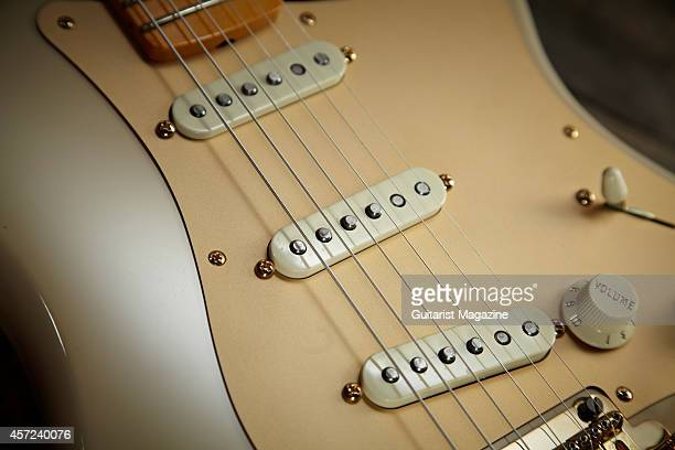 Detail of the American Vintage single coil pickups on a Fender 60th Anniversary Classic Player 50s Stratocaster electric guitar taken on February 24...