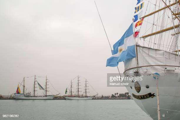 Detail of the ARA Libertad sailing ship school vessel of the Argentine Navy during the Velas Latinoamerica 2018 Nautical Festival at Callao Naval...