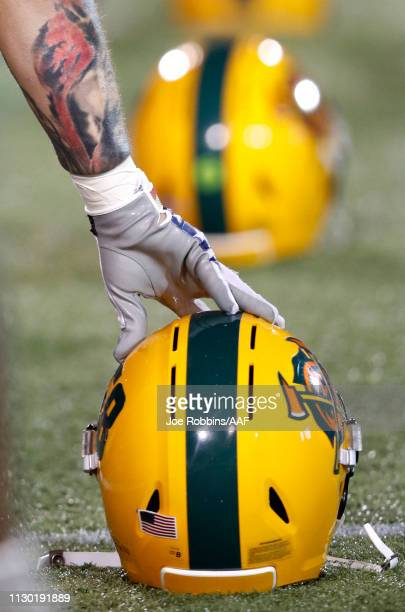 A detail of the Arizona Hotshots helmet is seen before the Alliance of American Football game against the Memphis Express at Liberty Bowl Memorial...