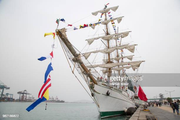 Detail of the ARM Cuauhtémoc sail training vessel of the Mexican Navy during the Velas Latinoamerica 2018 Nautical Festival at Callao Naval Base on...