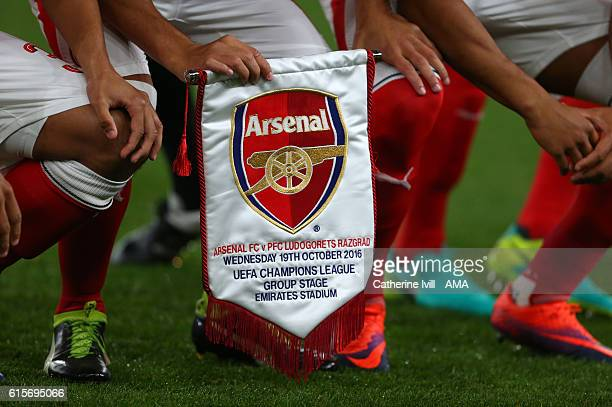 Detail of the Arsenal match pennant during the UEFA Champions League match between Arsenal FC and PFC Ludogorets Razgrad at Emirates Stadium on...
