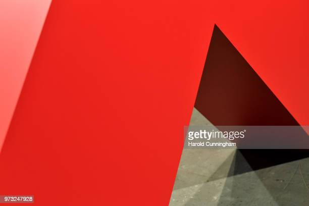 A detail of the artwork of Carmen Herrera 'Angulo Rojo' during the press preview for Art Basel at Basel Messe on June 13 2018 in Basel Switzerland...