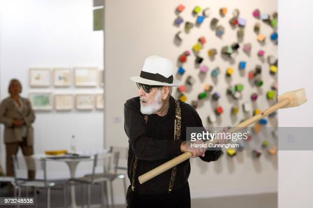 A detail of the artwork of Michelangelo Pistoletto 'Rottura dello specchio' during the press preview for Art Basel at Basel Messe on June 13 2018 in...