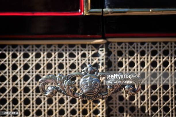 A detail of the Ascot Landau carriage which will carry Britain's Prince Harry and wife Meghan Markle along the processional route in Windsor...