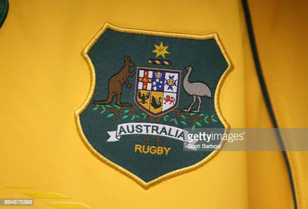 A detail of the Australia Rugby emblem on a Wallabies jersey in the Australian dressing room prior to the International Test match between the...