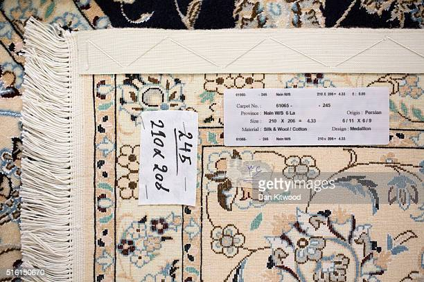 A detail of the back of a 'Nain' Persian rug at the Oriental Rug Centre's main warehouse on March 17 2016 in London England The Oriental Rug Centre...