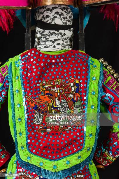 Detail of the back of Alfredo Alvarez´s costume for the carnival in Tlaxcala Mexico on February 13 2018 The satirical costumes and masks were...