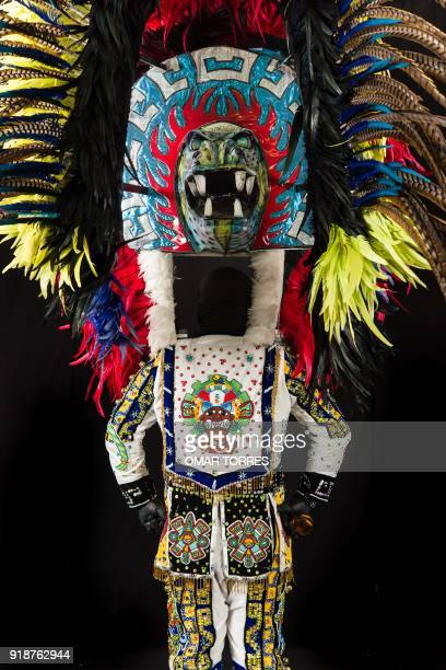 Detail of the back of Arturo Beristain´s costume for the carnival in Tlaxcala Mexico on February 13 2018 The satirical costumes and masks were...