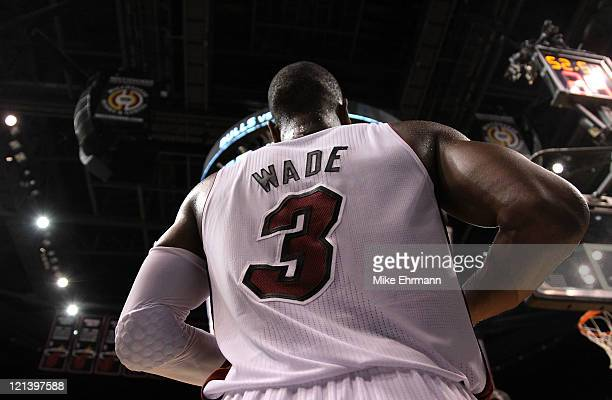 A detail of the back of the jersey of Dwyane Wade of the Miami Heat as he plays against the Chicago Bulls in Game Three of the Eastern Conference...