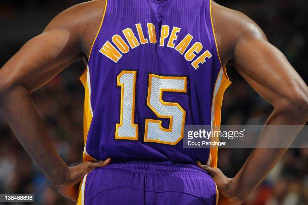 Detail of the back of the jersey of Metta World Peace of the Los Angeles Lakers as the Lakers defeated the Denver Broncos 9389 at the Pepsi Center on...