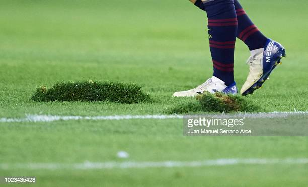 Detail of the bad condition of the field meanwhile Lionel Messi of FC Barcelona walks during the La Liga match between Real Valladolid CF and FC...