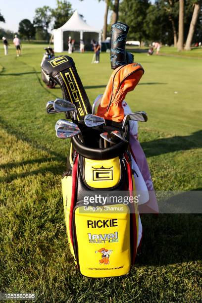 Detail of the bag and clubs of Rickie Fowler of the United States during the first round of the Rocket Mortgage Classic on July 02, 2020 at the...