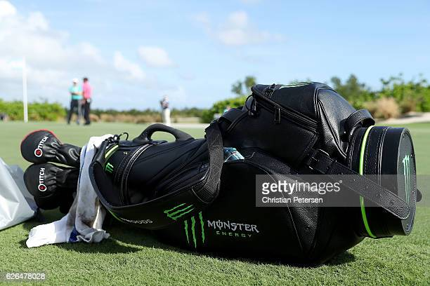 Detail of the bag for Tiger Woods as he practices on the putting green ahead of the Hero World Challenge at Albany The Bahamas on November 29 2016 in...