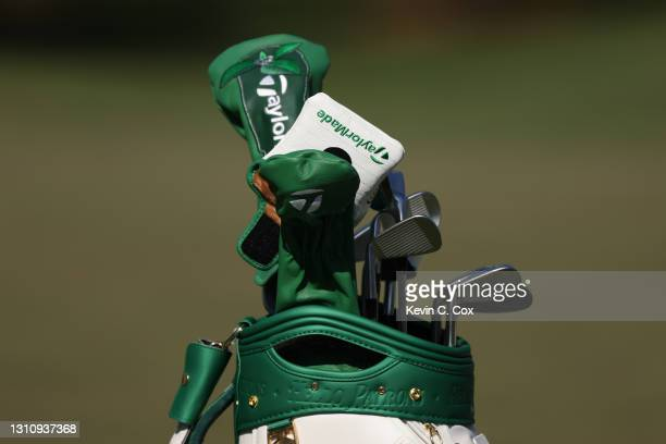 Detail of the bag of Dustin Johnson of the United States during a practice round prior to the Masters at Augusta National Golf Club on April 05, 2021...
