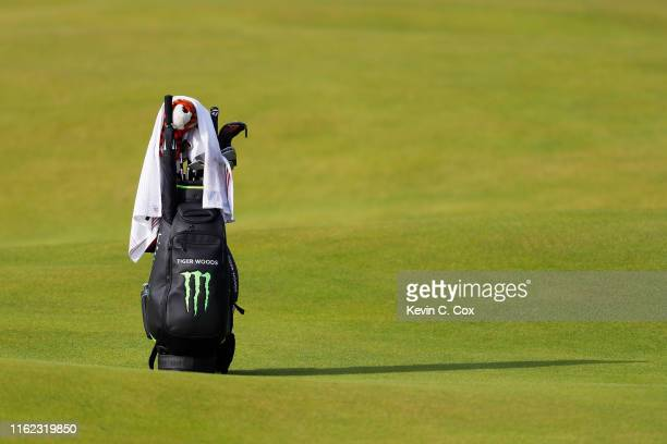 Detail of the bag of Tiger Woods of the United States during a practice round prior to the 148th Open Championship held on the Dunluce Links at Royal...