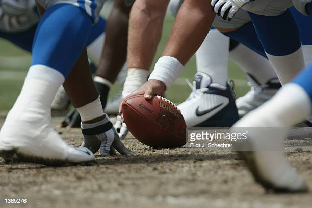 Detail of the ball before the snap during the NFL game between the Miami Dolphins and the Detroit Lions on September 8 2002 at Pro Player Stadium in...