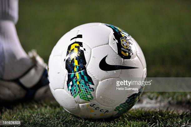 Detail of the ball during a match between Corinthians and Gremio as part of the Brasilian Serie A Championship at Pacaembu Stadium on September 08...