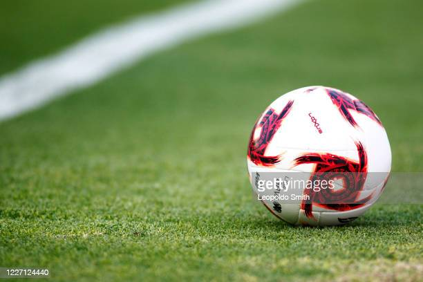 Detail of the ball during a match between Leon and FC Juarez as part of the friendly tournament Copa Telcel at Leon Stadium on July 14, 2020 in Leon,...