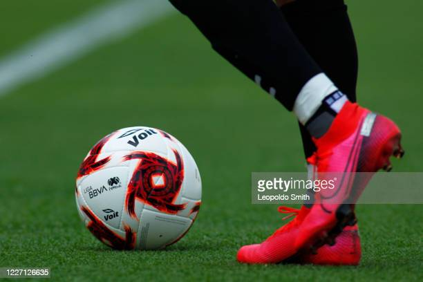 Detail of the ball during a match between Pachuca and Atletico San Luis as part of the friendly tournament Copa Telcel at Leon Stadium on July 14...