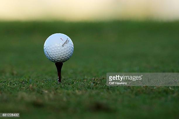 A detail of the ball of Jordan Spieth of the United States on the first tee during the final round of the SBS Tournament of Champions at the...