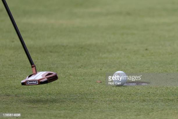 Detail of the ball of Rory McIlroy of Northern Ireland during the final round of the Masters at Augusta National Golf Club on November 15, 2020 in...