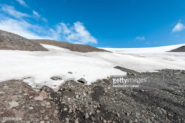 Detail of the base of the Wanda Glacier, Lussich Cove, on January 04, 2020 in King George Island, Antarctica.