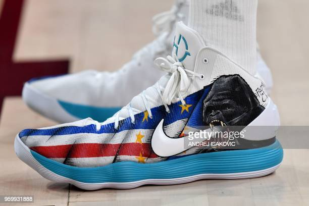 Detail of the basketball boots of Real Madrid's Cape Vardean centre Walter Tavares during the Euroleague Final Four second semi-final match between...